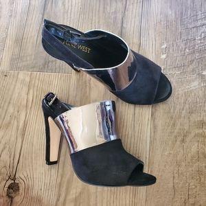 Nine West open toe black heels with metallic band